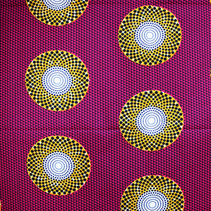 'DIAL IT DOWN A NOTCH (on pink)' African Wax Block Print Fabric Orange White Sold by the yard 100% cotton by Dovetailed