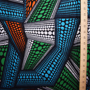 African Print Wax Block Fabric Sold by yard 100% cotton Green blue red and white Ankara by Dovetailed