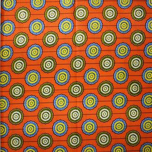 Julius Holland Wax Block Print African Orange White Yellow Blue Sold by the yard Cotton Dovetailed
