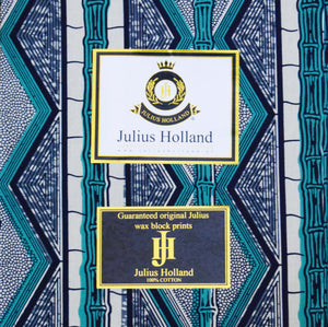 Julius Holland Wax Block Print African print fabric shop Dutch wax Green grey and white coloured fabric Sold by the yard 100% cotton Dovetailed