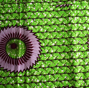 African Print Wax Block Fabric Sold by yard 100% cotton Green brown circles Ankara by Dovetailed