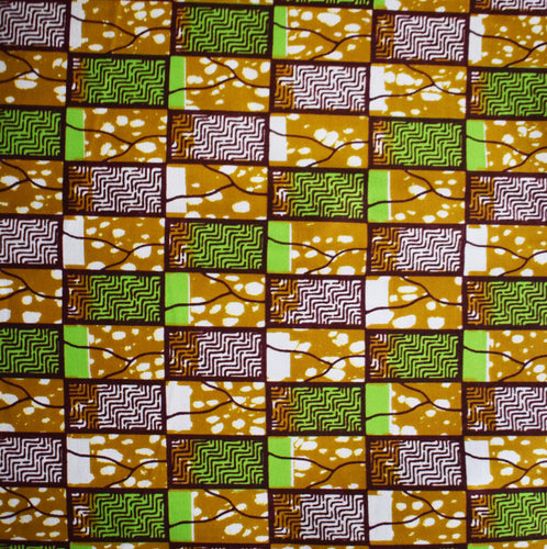 Julius Holland Wax Block Print African print fabric shop Dutch wax Sold by the yard 100% cotton green, white and brown coloured fabric Dovetailed