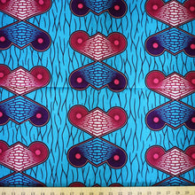 Julius Holland Wax Block Print African Blue Pink Purple White Sold by the yard Cotton Dovetailed