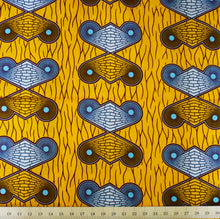 Julius Holland Wax Block Print African Orange White Blue Brown Sold by the yard Cotton Dovetailed