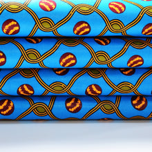 NETTING ON BLUE African Print Wax Block Fabric Sold by the yard 100% cotton Blue Green Orange Ankara by Dovetailed