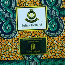 Julius Holland Wax Block Print African print fabric shop Dutch wax Sold by the yard 100% cotton Orange and green coloured fabric Dovetailed