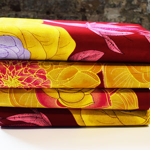 PLUM FLOWER GARDEN African Print Wax Block Fabric Sold by yard 100% cotton Ankara by Dovetailed