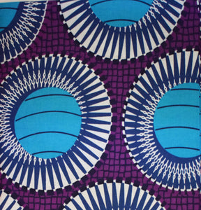 African Print Wax Block Fabric Sold by the yard 100% cotton Purple Blue White coloured fabric Ankara fabric African fashion Craft & Supplies by Dovetailed