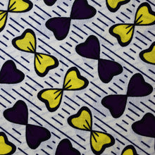 Julius Holland Wax Block Print  African print fabric shop Dutch wax Purple, yellow and light grey bow-tie shaped patterned coloured fabric Sold by the half yard / by the yard /wholesale (6 yards) 100% cotton by Dovetailed