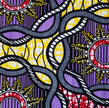 African Print Wax Block Fabric Sold by yard 100% cotton Purple, red and yellow coloured fabric Ankara fabric African fashion Patterned fabric Craft & Supplies by Dovetailed