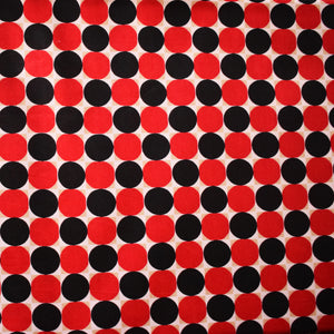 African Print Wax Block Fabric Sold by yard 100% cotton Red Black circle print Ankara Patterned by Dovetailed