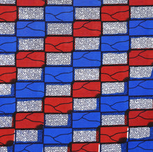 Julius Holland Wax Block Print African print fabric shop Dutch wax Sold by the yard 100% cotton Colours are Blue, red, white and black Dovetailed
