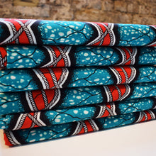 Julius Holland Wax Block Print African Red Teal White Sold by the yard Cotton Dovetailed
