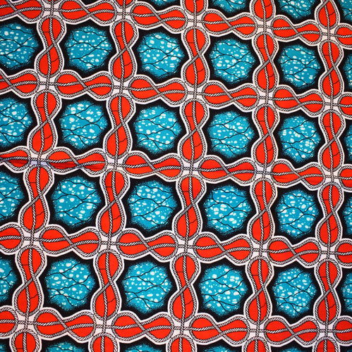 ROPED DESIGNS ON RED Julius Holland Wax Block Print African Red Teal White Sold by the yard Cotton Dovetailed