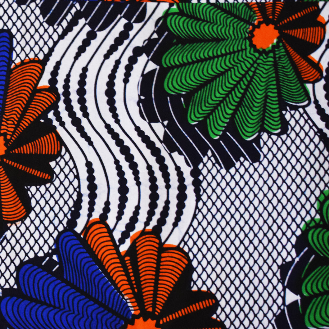 African Print Wax Block Fabric Sold by yard 100% cotton White red blue green Ankara Patterned by Dovetailed