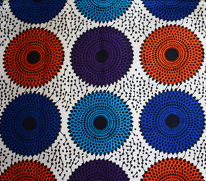 African Print Wax Block Fabric Sold by yard 100% cotton White blue red and purple coloured circle print fabric Ankara fabric African fashion Patterned fabric Craft & Supplies by Dovetailed