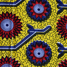 African Print Wax Block Fabric Sold by yard 100% cotton Yellow Red Blue print Ankara Patterned by Dovetailed