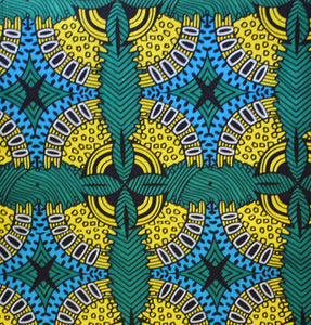 African Print Wax Block Fabric Sold by yard 100% cotton Green, blue, yellow, black and white coloured fabric Ankara fabric African fashion Patterned fabric Craft & Supplies by Dovetailed