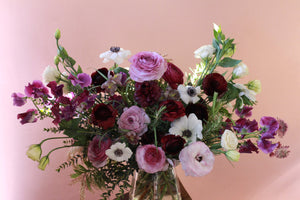 Portland Florist Delivery Plants Local Flower Arrangement Ranunculus Garden Roses Tulips Purple White Locally Made Anniversary Sympathy Birthday Congratulations Congrats Valentine's Day
