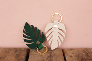 Leather Monstera Keychains