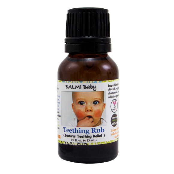 BALM! BABY - TEETHING RUB A NATURAL HERBAL TOPICAL RUB FOR THE GUMS FOR TEETHING BABIES- 1/2OZ