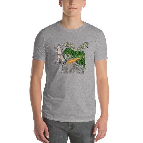 Boy Holding Fire Breathing  Dragon Short-Sleeve T-Shirt