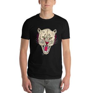 Abstract Designed Lion Face Short Sleeves T-shirt