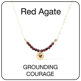 Aura Necklace Card Gold and Red Agate
