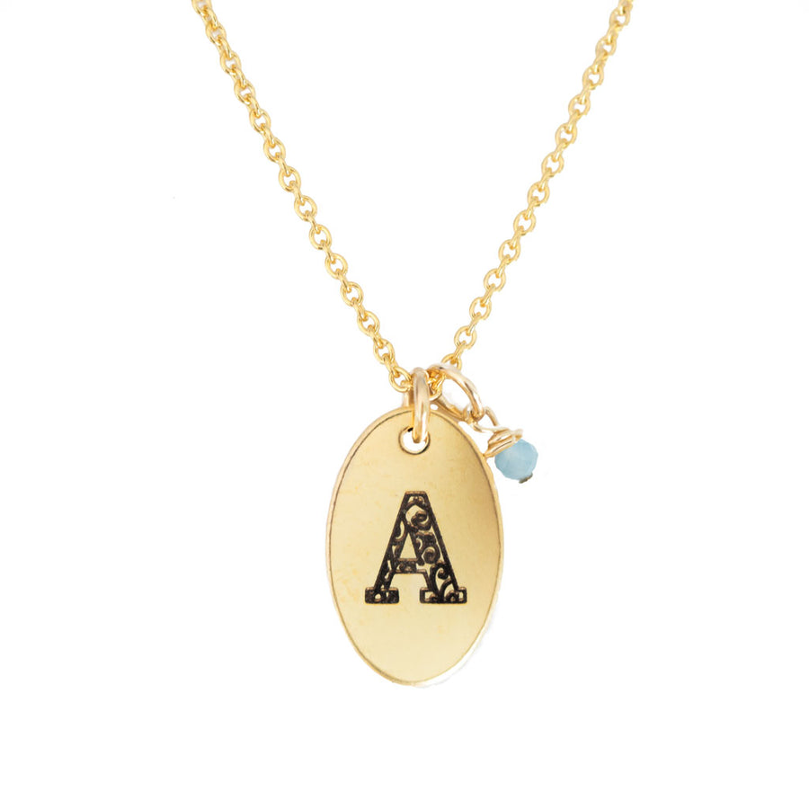 A - Birthstone Love Letters Necklace Gold-and-Aquamarine