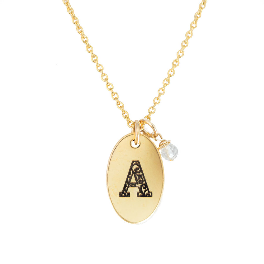 A - Birthstone Love Letters Necklace Gold-and-Clear-Quartz
