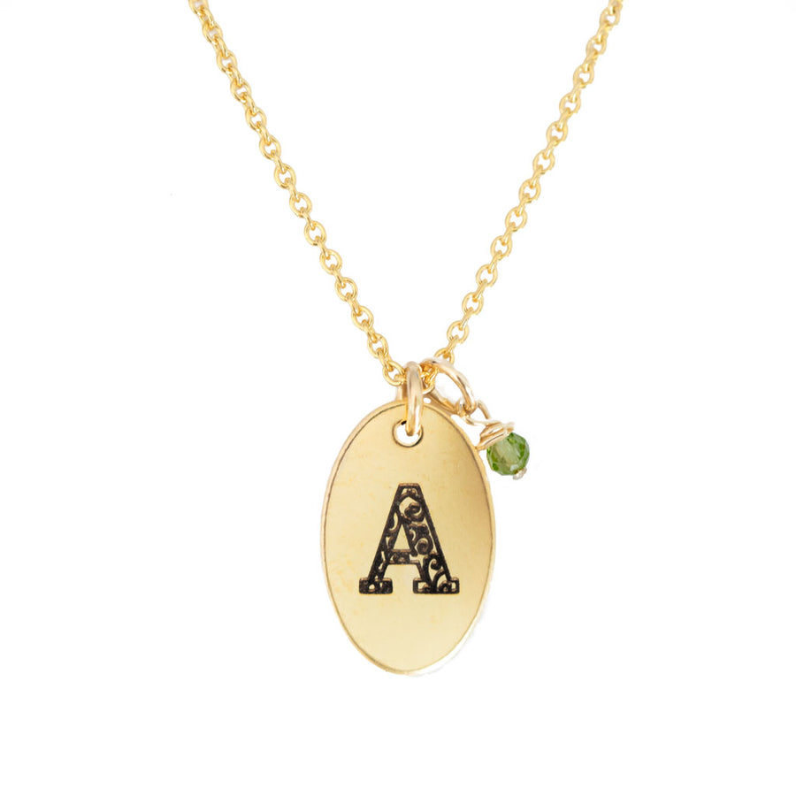A - Birthstone Love Letters Necklace Gold-and-Peridot