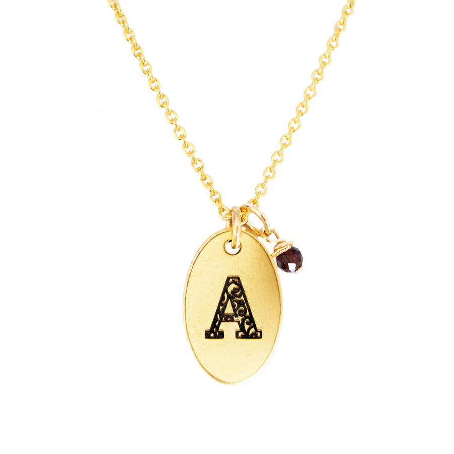 A - Birthstone Love Letters Necklace Gold and Red Garnet