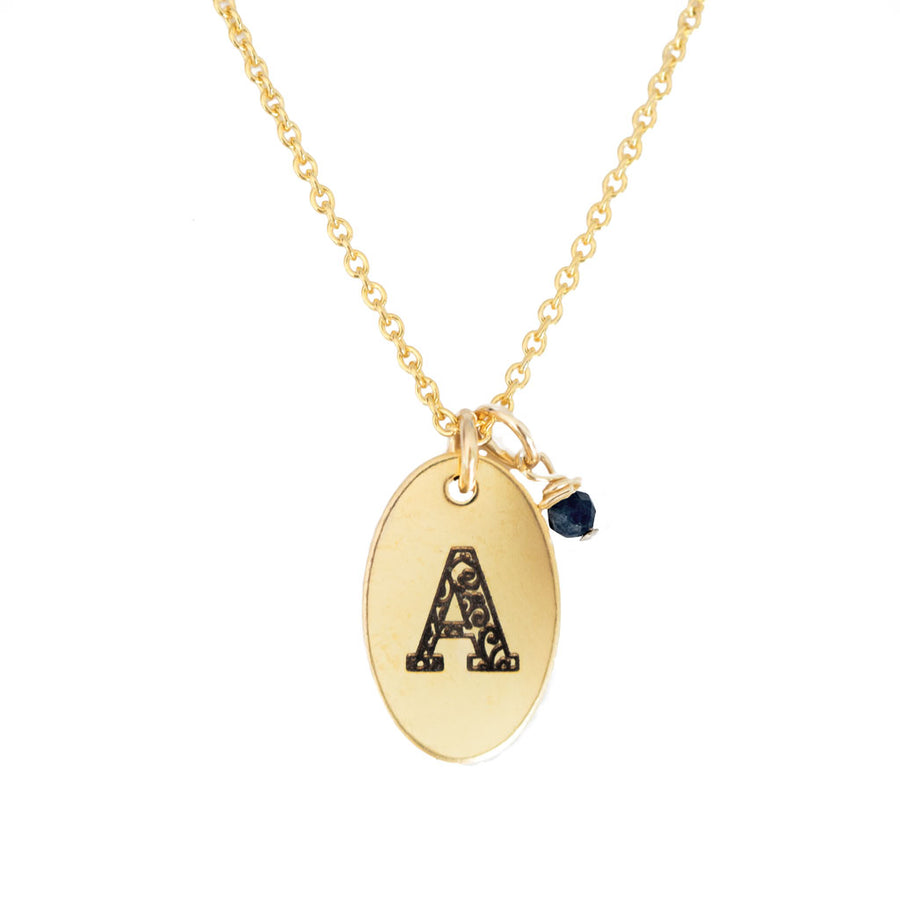 A - Birthstone Love Letters Necklace Gold-and-Sapphire