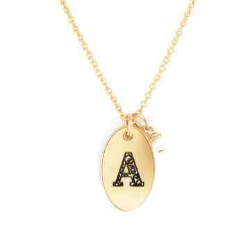 A - Birthstone Love Letters Necklace Gold and Pearl