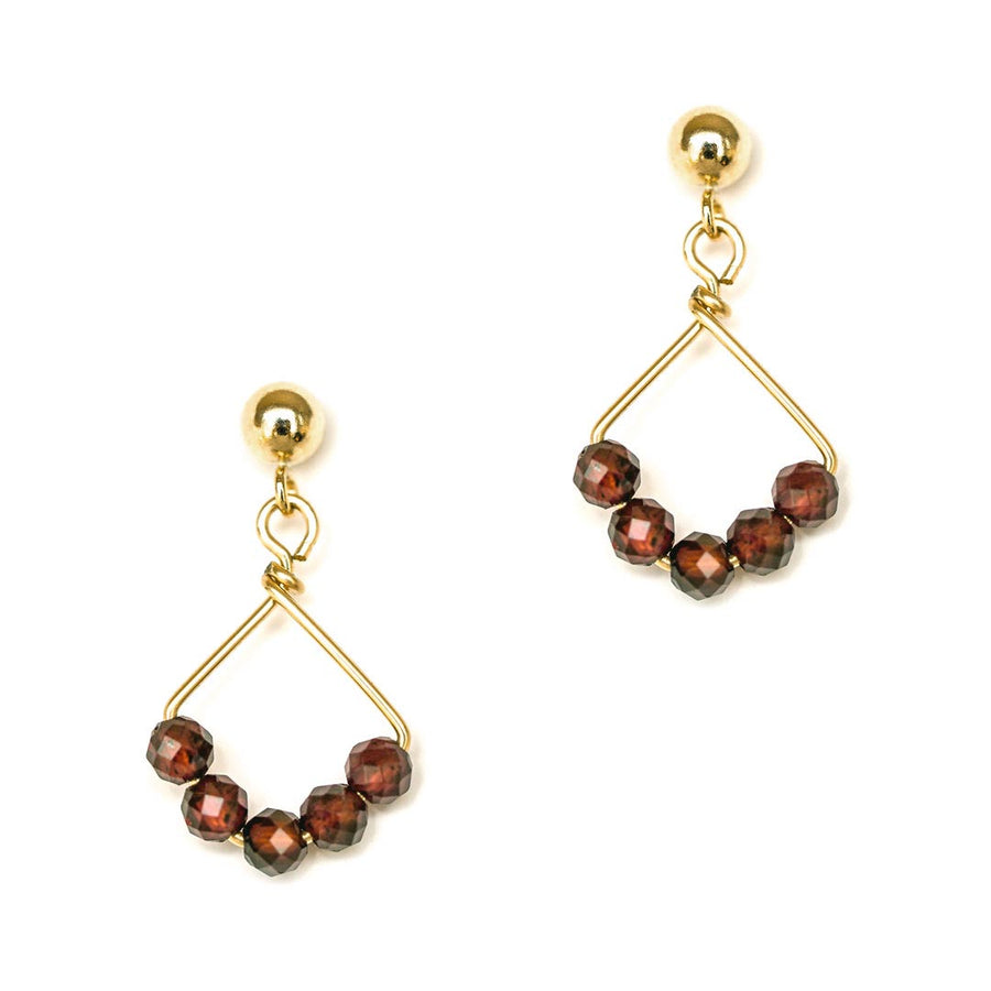 Angel 5 Earrings - Gold and Red Garnet