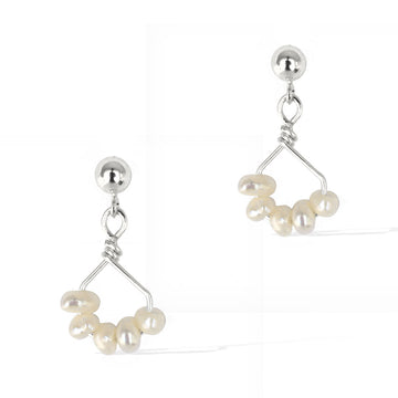 Angel 5 Earrings Silver and Pearl