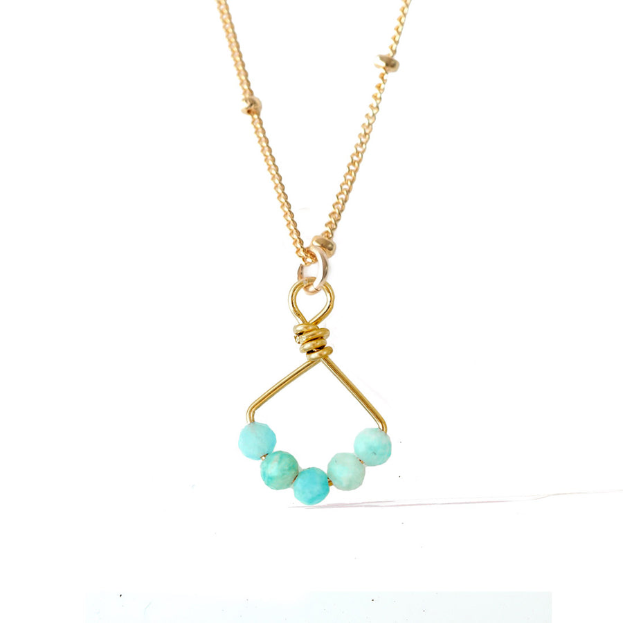 Angel 5 Necklace - Gold and Amazonite