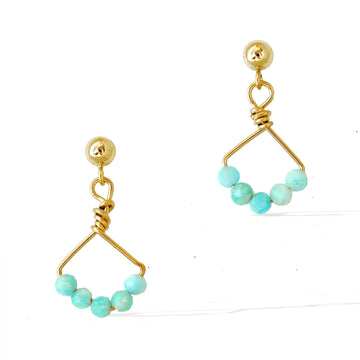 Angel 5 Earrings - Gold and Amazonite