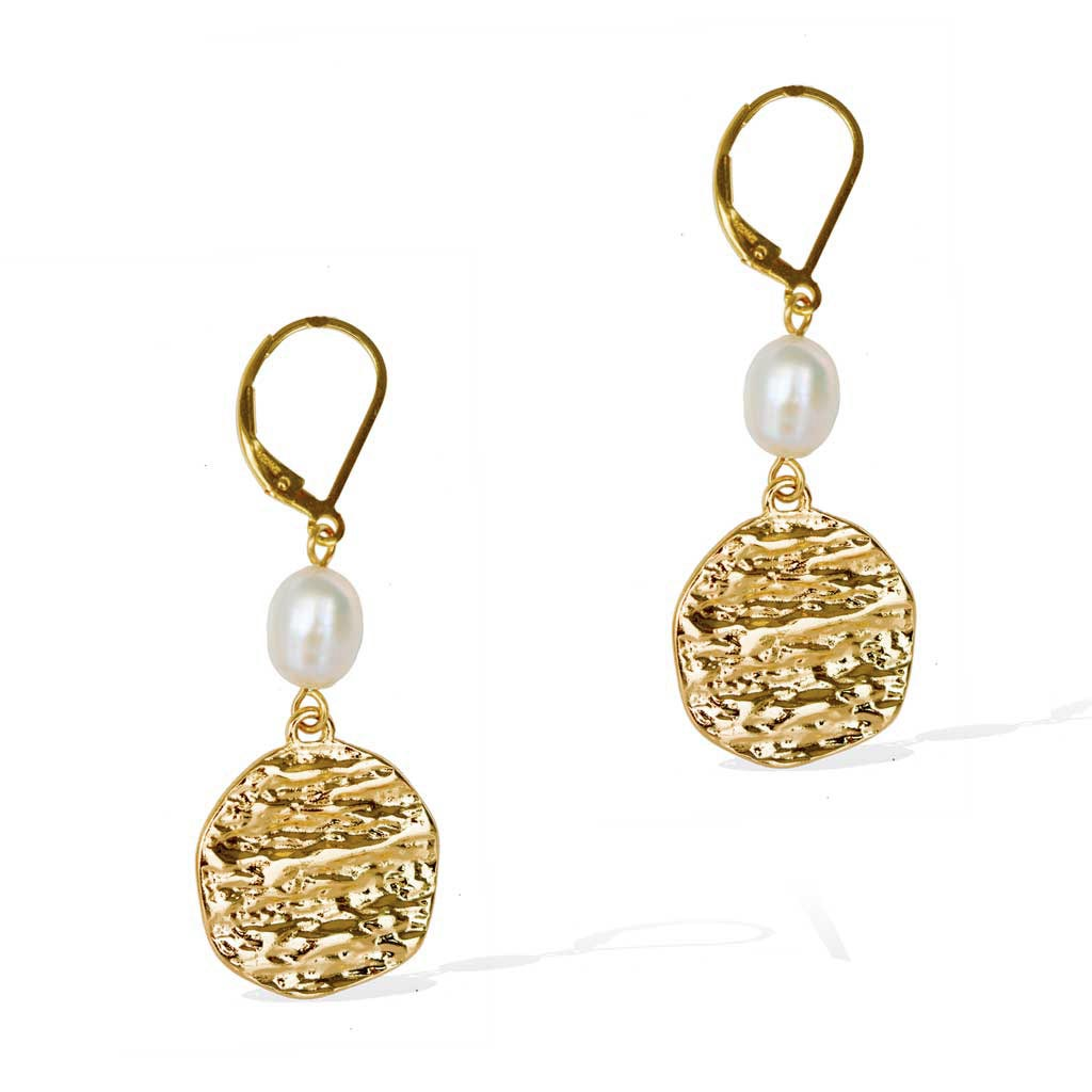 Atlantis Pearl Drop Earrings - Gold and Pearl