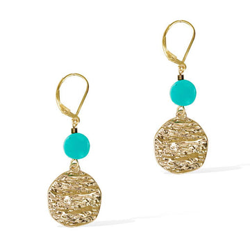Atlantis Turquoise Drop Earrings - Gold and Turquoise