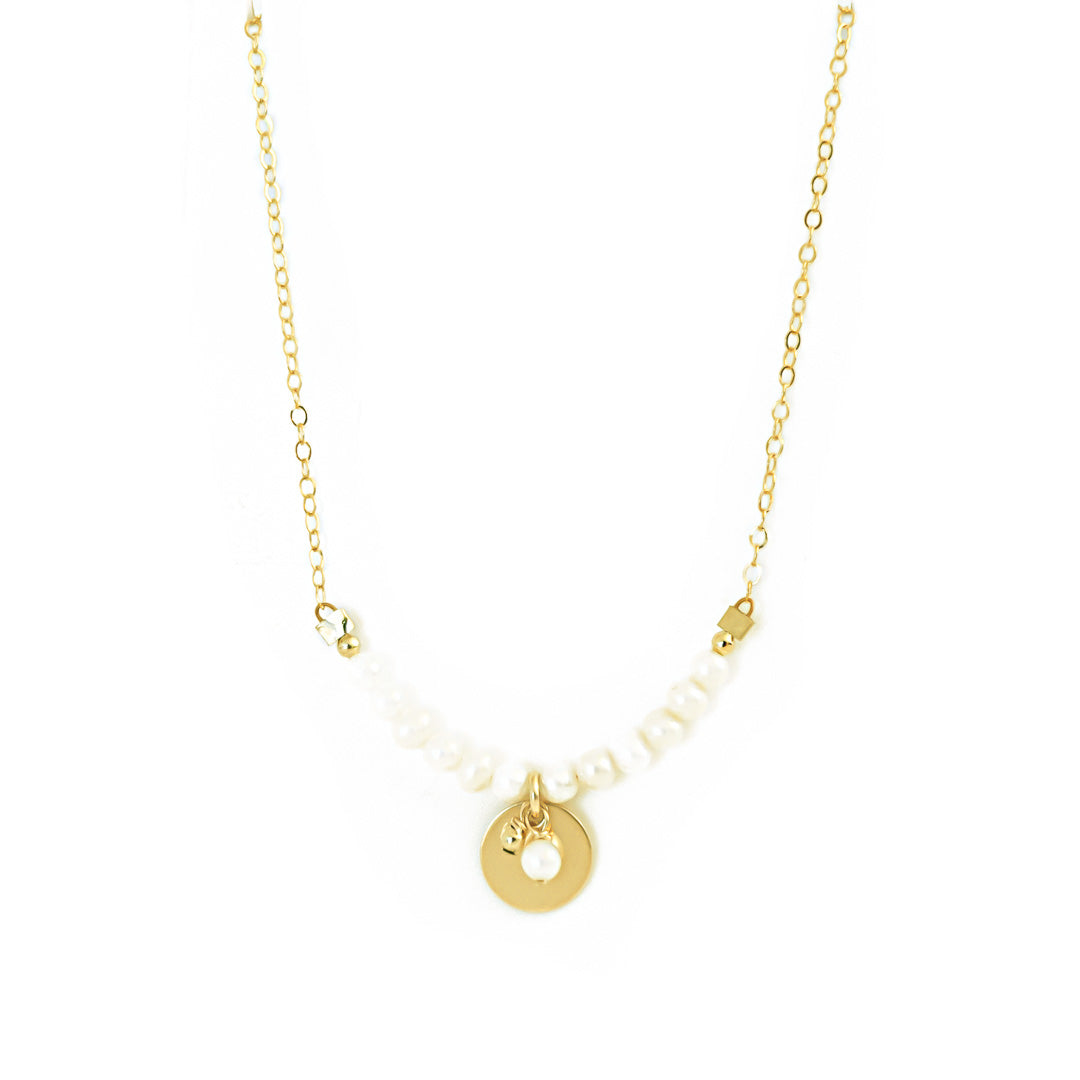 Aura Necklace gold pearl