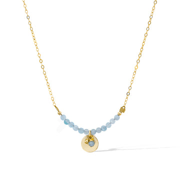 The Aura Necklace - Gold and Aquamarine