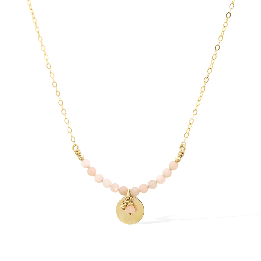 The Aura Necklace - Gold and Pink Opal