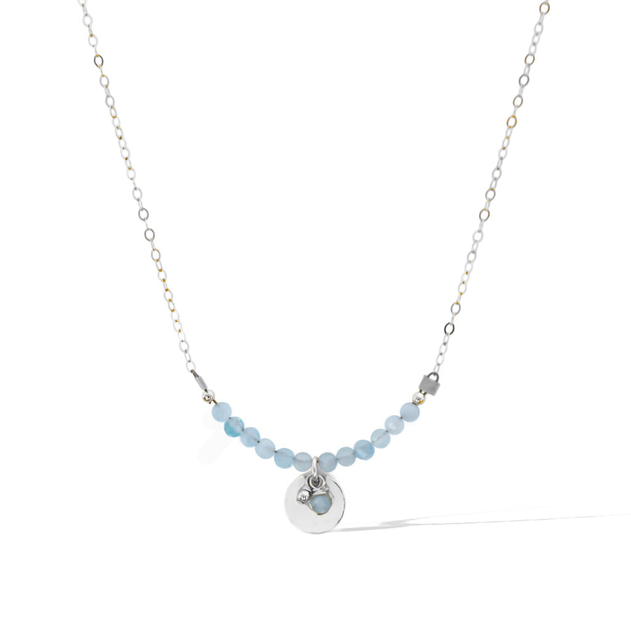 The Aura Necklace - Silver and Aquamarine