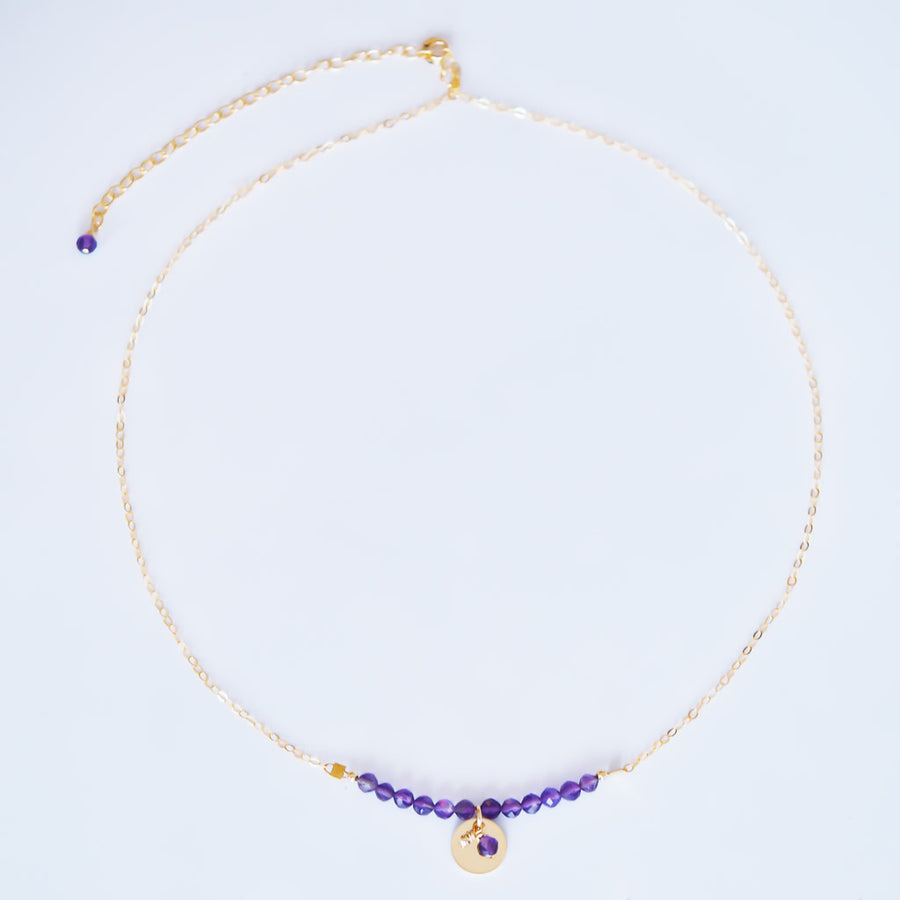 The Aura Necklace - Gold and Amethyst top view