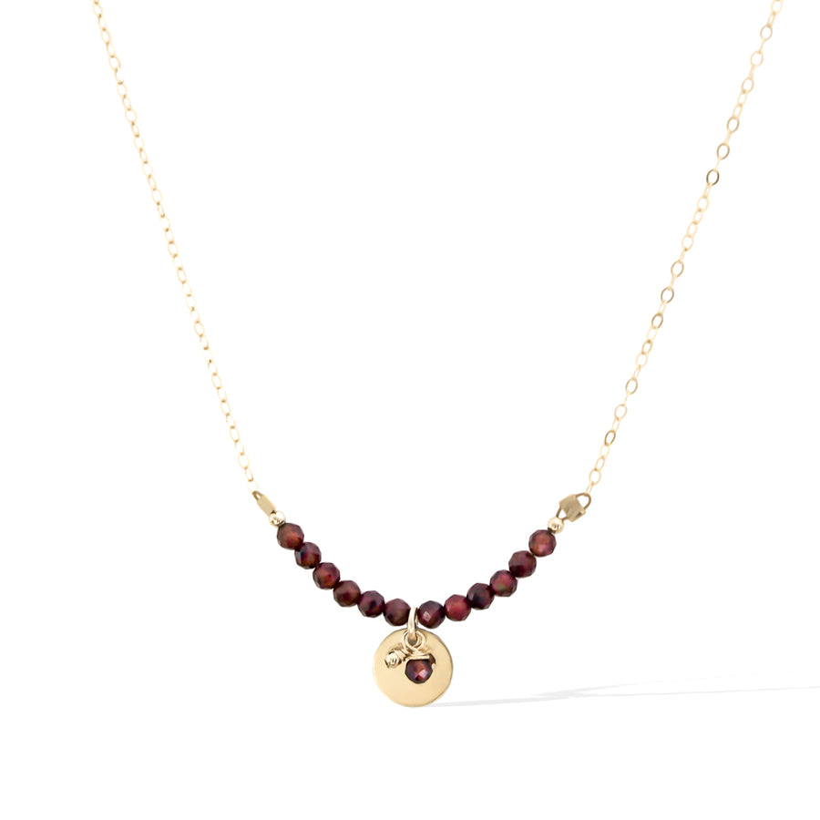 The Aura Necklace - Gold and Red Garnet