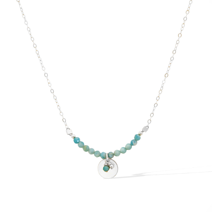 The Aura Necklace - Silver and Amazonite