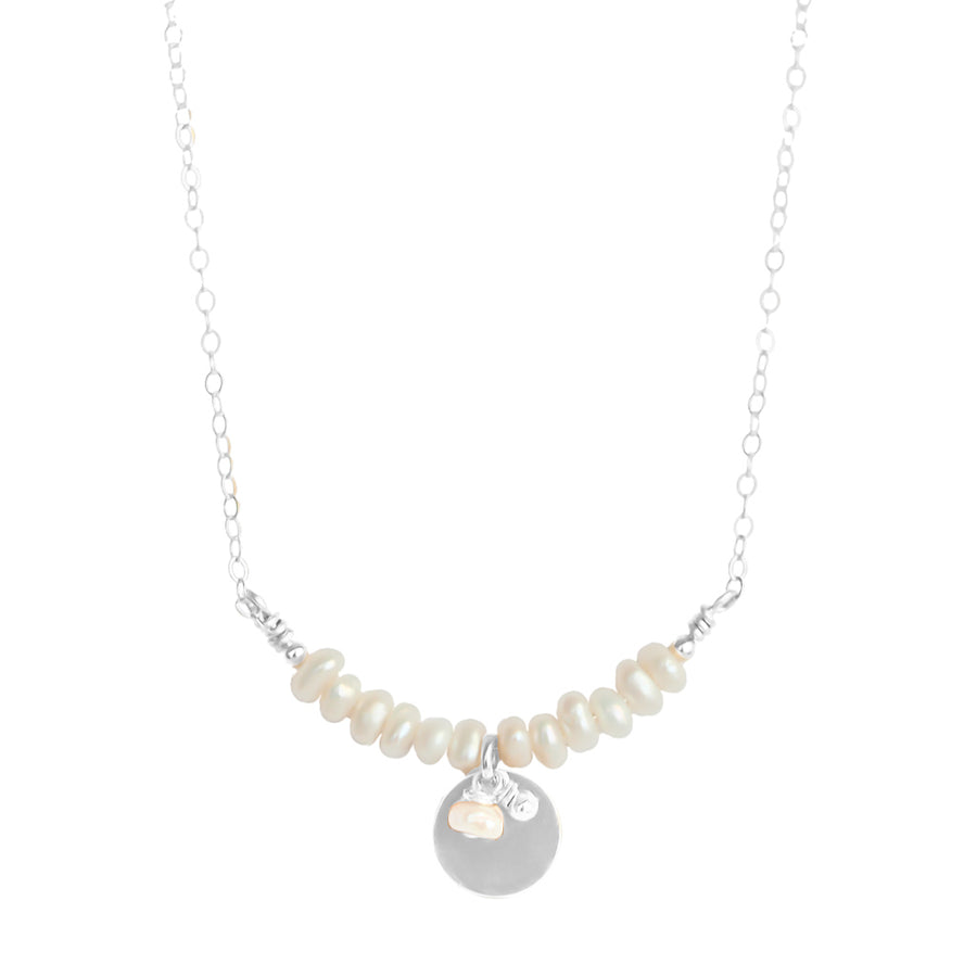 The Aura Necklace - Silver and Pearl