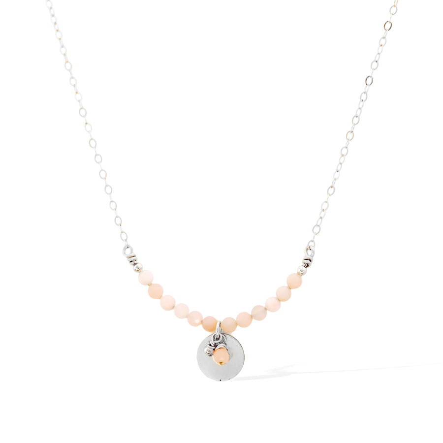 The Aura Necklace - Silver and Pink Opal