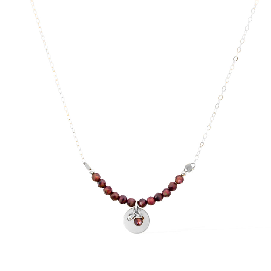 The Aura Necklace - Silver and Red Garnet